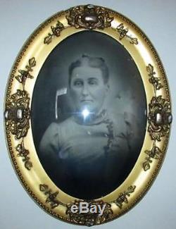 Antique Civil War Era Sepia Photo Gilt Gesso Frame 25 x 19 Convex Bubble Glass