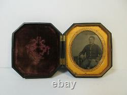Antique Civil War TinType Photo of Soldier with Handsome Daguerreotype Case