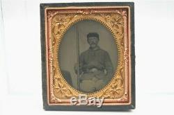 Antique Civil War Tintype Photo 1/6 Soldier Sergeant Sitting Armed with Rifle