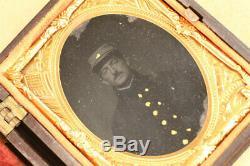 Antique Civil War Tintype Photo Union Soldier Unique Union Army Brass Mat/Case