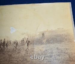 Antique Civil War Union Soldiers CDV Photo Charging Into Battlefield