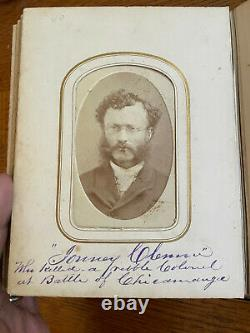 Antique Civil War era Photo Album With 32 CDVs and 12 tintypes