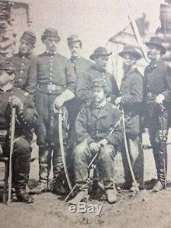 Antique Civil war camp photograph armed Officers swords