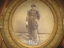 Antique Framed Civil War Union Officer 96th Infantry Original 1800s Sword Photo
