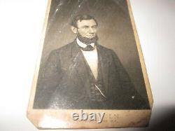 Antique Original CDV Photo Card Civil War President Abraham Lincoln 1861 Stamp