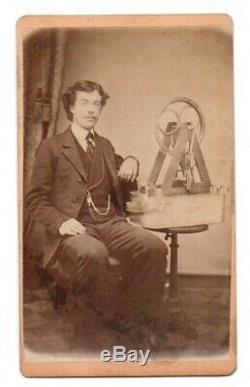 Antique Original CDV Photo Inventor Civil war Era patent Model Steam Engine ORIG