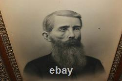 Antique Photograph Civil War Era Man Long Beard Scar On Face Gilded Frame LARGE