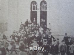 Antique Post CIVIL War Era Dancing Outdoors School Jefferson Wi CDV Sepia Photo