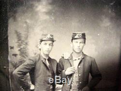 Antique TINTYPE PHOTO of 2 CIVIL WAR UNION SOLDIERS Brothers HONESDALE PA