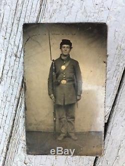 Antique Tin Type CIVIL War Soldier / Gun Bayonet Breast Plate Belt Buckle Photo