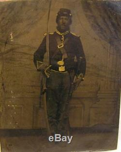 Antique Tintype CIVIL War Soldier With Carbine Rifle, Sword & Pistol Photograph