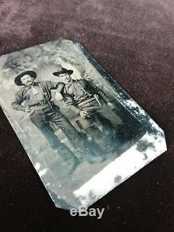 Antique Tintype Photo Two Civil War (or Post) Calvary Soldiers Pistols