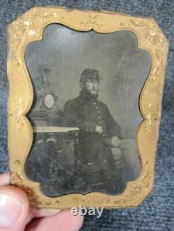 Antique Us Military CIVIL War Soldier Tin Type Photograph Portrait, 4.25 X 3.25
