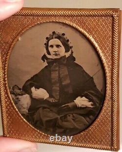 Antique Victorian Daguerreotype Civil War Era Pretty Woman Portrait Photograph