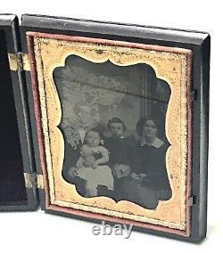 Antique Vintage Civil War 1/4Daguerretype Union Case Military Scenes Photo Frame