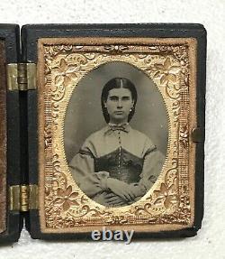 Antique Vintage Civil War Era Image Daguerreotype Gold Filled Case Photo Frame