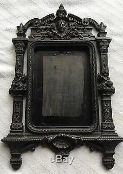 Antique c1860 Gutta Percha Civil War Lady Cherubs Angel Shell Picture Frame