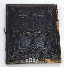 Antique c1860s Soldier Sack Coat Kepi Civil War Era 1/6 Ambrotype Photo