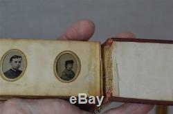 Antique tintype photo album miniature 35 gem 1 in Civil War Era portraits 1800
