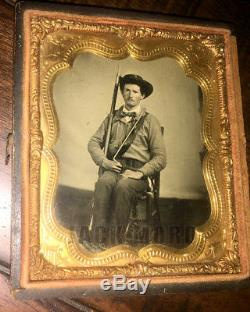 Armed Civil War Confederate Soldier Texas 1860s Ambrotype Photo