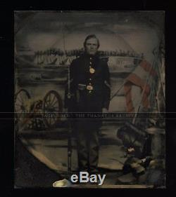 Armed Civil War Soldier with Tinted Flag & Camp Scene / 1860s Tintype Photo