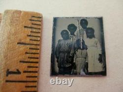 BLACK AMERICANA FREEDMEN'S CHILDREN OF SLAVES POST CIVIL WAR TINTYPE c1869