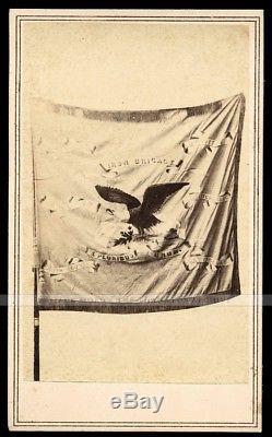 Beautiful & Rare 1860s CDV Photo The Flag of IRON BRIGADE Civil War Soldiers