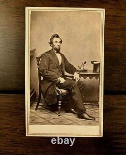 Brady Neg Abraham LINCOLN INKWELL CDV PHOTO + Civil War Tax Stamp & SF Imprint