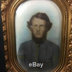 C1860 Convex Bubble Glass Picture Of CIVIL War ID Confederate Soldier 1st Sc Cav