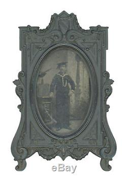 CDV-size Post-Civil War Tintype of US Navy Sailor in Rare Thermoplastic Frame