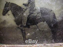CIVIL WAR 1/4 PLATE Tintype PHOTO of CONFEDERATE SOLDIER on Horseback