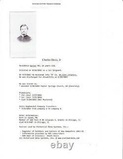 CIVIL WAR CDV SOLDIER I. D. CHARLES DAVIS, JR. 11th NEW HAMPSHIRE INF