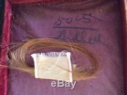 CIVIL WAR ERA CASED IMAGE of POST MORTEM TIN PHOTO OF YOUNG GIRL w LOCK OF HAIR