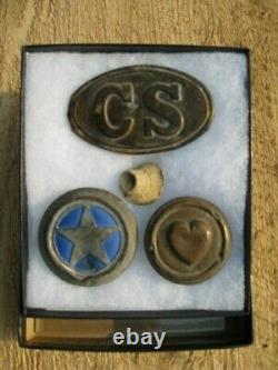 CIVIL WAR ERA / CSA BOX PLATE, HARNESS ROSETTES and LEAD BULLET