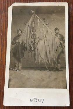 CIVIL WAR SOLDIERS FLAG COLOR BEARERS 111th PENN VOLUNTEERS RPPC PHOTO POSTCARD