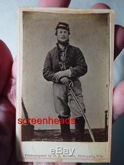 CIVIL WAR SOLDIER CDV PHOTO VG Armed With Pistol & Sword SHEBOYGAN, WISCONSIN