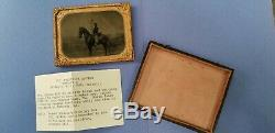 CIVIL WAR TINTYPE/NY/ID'D PVT. FREDERICK EPTING MOUNTED ON HORSE WithPISTOL