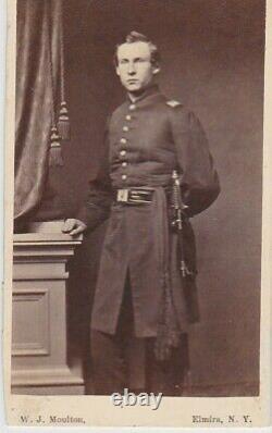 CIVIL War CDV Soldier Officer With Sword Elmira, New York
