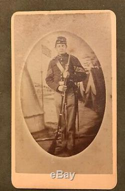 CIVIL War CDV Union Sergeant Kepi Hat, Rifle, Bayonet, Cross Belt, U. S. Buckle