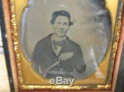 CIVIL War Confederate Sixth Plate Image-ambro / Ambrotype With Bowie Knife
