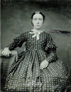 CIVIL War Era 1/6 Plate Ambrotype Photo Of A Young Woman In Crinoline Dress