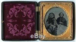 CIVIL War Era 1/6 Plate Ambrotype Photo Portrait Of Two Elderly Women