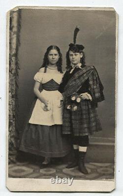CIVIL War Era CDV Young Women In Traditional Scottish Folk Dress. Tax Stamp. Wis