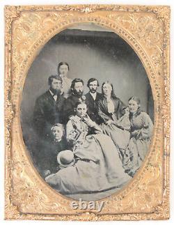 CIVIL War Era Tax Stamp. Family Photo. Tinted Half Plate Tintype. No Case