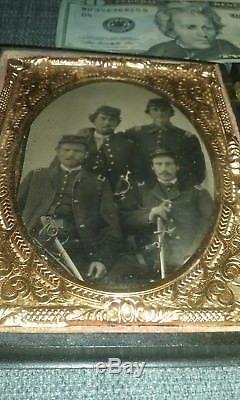 CIVIL War Original Tintype 4 Armed Soldiers 5th Cav In Patriotic Case