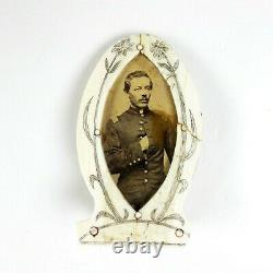CIVIL War Pow Made While In Camp Union Officer Photograph Albumen Frame