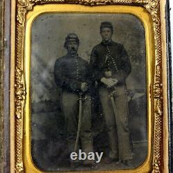 CIVIL War Quarter Plate Tintype Cavalry Men Gutta Percha Case Tinted Sword