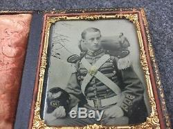 CIVIL War Sixth Plate Tintype Of Militia Soldier In Full Dress Including Pack