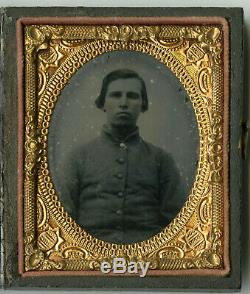 CIVIL War Soldier Photo Ambrotype Illinois Possible Confederate