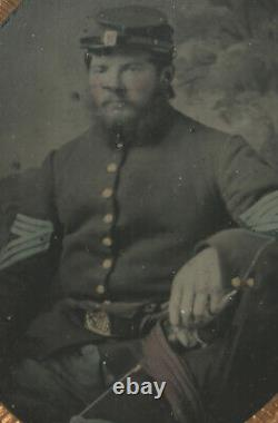 CIVIL War Soldier With Sword Hand Tinted 1/4 Plate Tintype